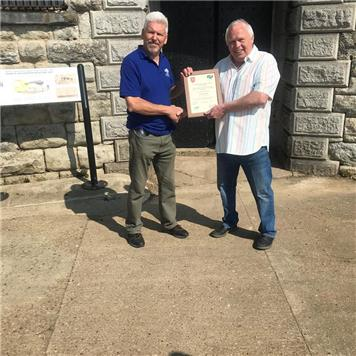 Chair Presents Award to Colin Davis - Community Award 2019 Presented at Slough Fort
